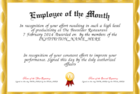 Employee Of The Month Certificate Template  Driverlayer inside Best Employee Of The Month Certificate Templates