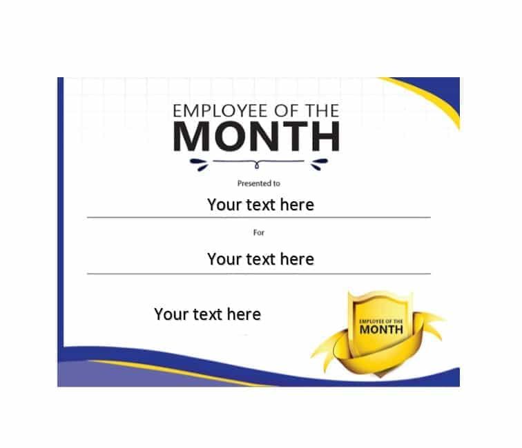 Employee Of The Month Certificate Template With Picture 2 with Employee Of The Month Certificate Template With Picture