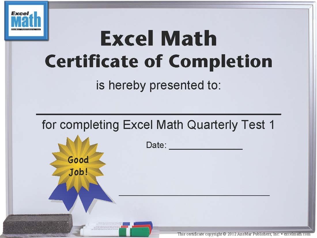 Excel Math Printable Math Certificates And Awards with regard to Math Achievement Certificate Templates