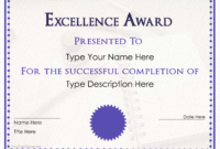 Excellence Award Certificate  Templates At with Winner Certificate Template