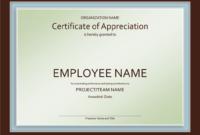 Excellent Employee Certificate Of Appreciation Template regarding Best Anniversary Certificate Template Free