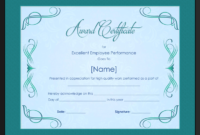 Excellent Employee Performance Award Certificate Template inside Winner Certificate Template Ideas Free
