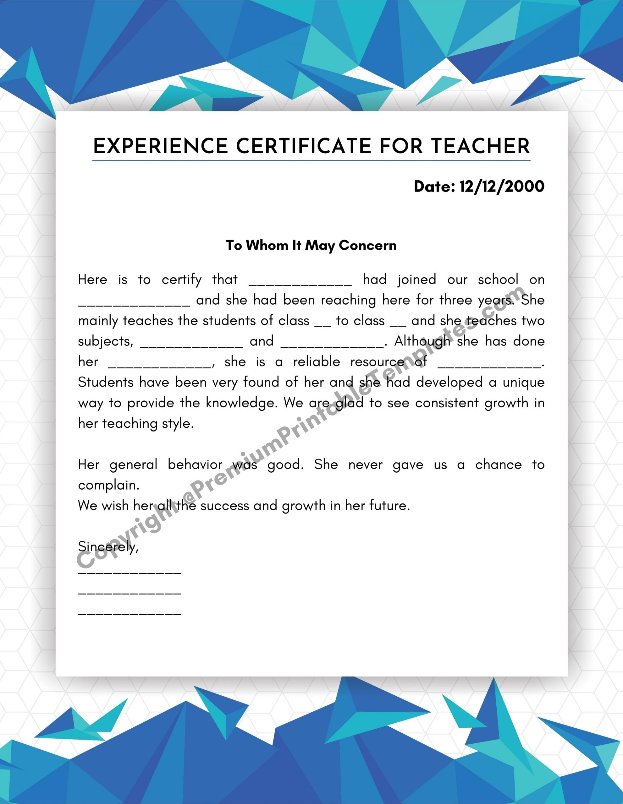 Experience Certificate For Teacher Pdf And Editable Word pertaining to Awesome Certificate Of Experience Template