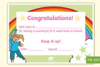 Eyfs Well Done On Your First Week At School Certificate regarding Quality Well Done Certificate Template