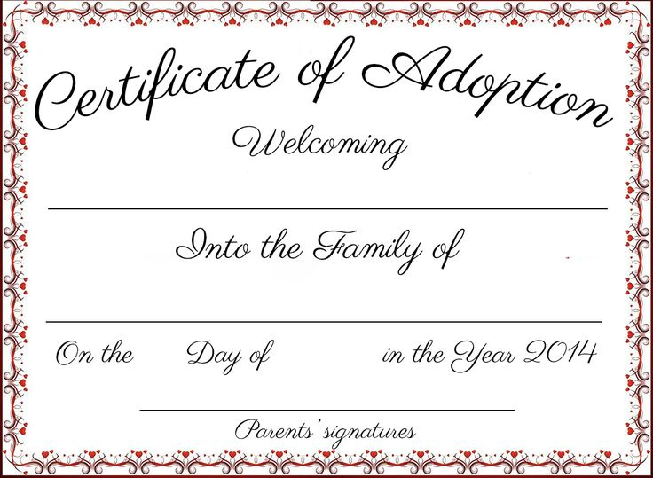 Fan Printable Adoption Certificate In 2020  Adoption with regard to Blank Adoption Certificate Template
