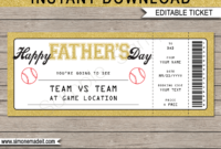 Father'S Day Baseball Ticket Gift Voucher  Printable intended for 5K Race Certificate Template 7 Extraordinary Ideas