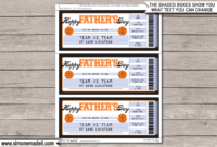 Father'S Day Basketball Ticket Gift Voucher  Printable inside Basketball Gift Certificate Template