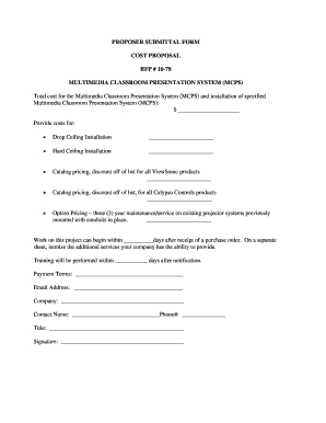 Fillable Online Rfp 1078 Cost Proposal  Submittal Form inside Printable Cost Proposal Template