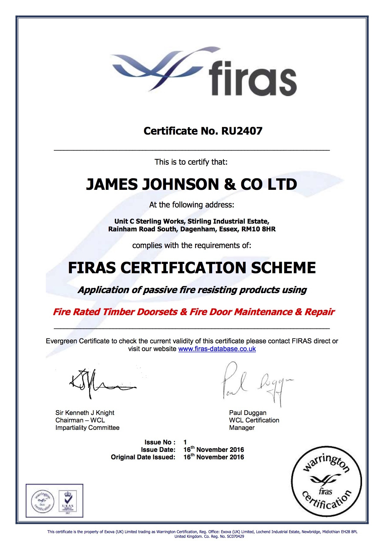 Firas Certificate Issue 1  James Johnson  Co Ltd in Awesome Firefighter Training Certificate Template