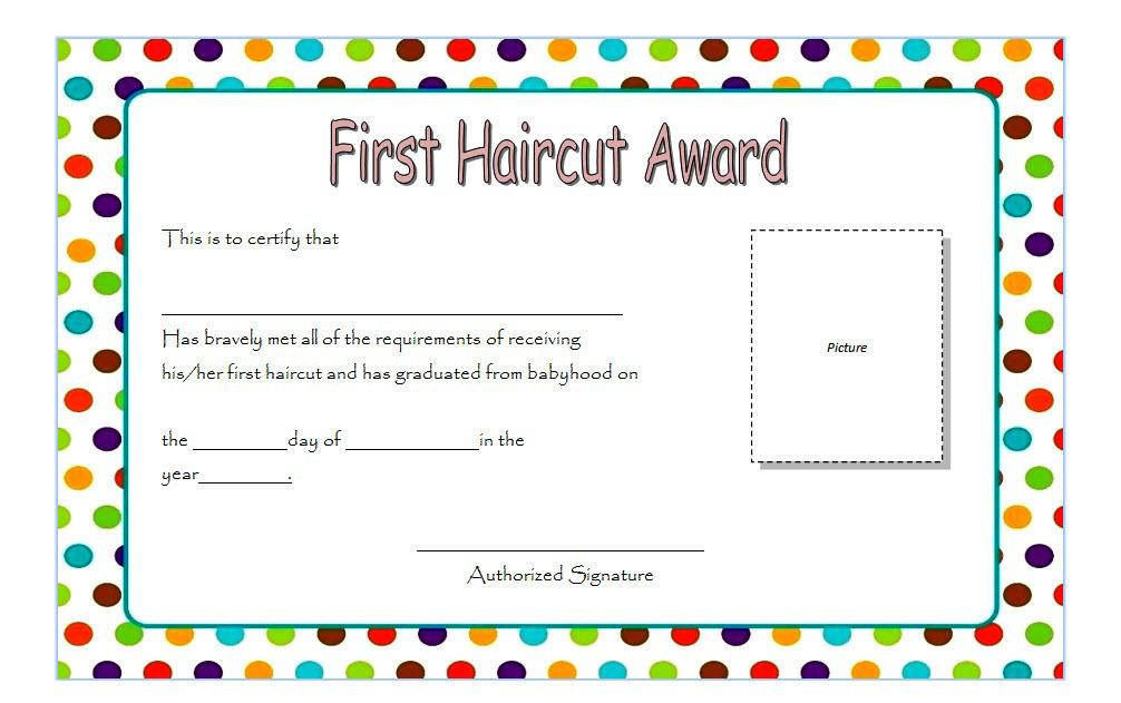 First Haircut Certificate Template  Best Haircut 2020 with Quality First Haircut Certificate