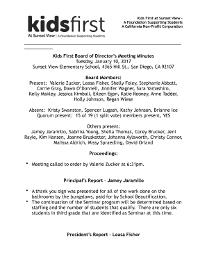 First Meeting Minutes Nonprofit  Fill Out Print with Board Agenda Template Non Profit