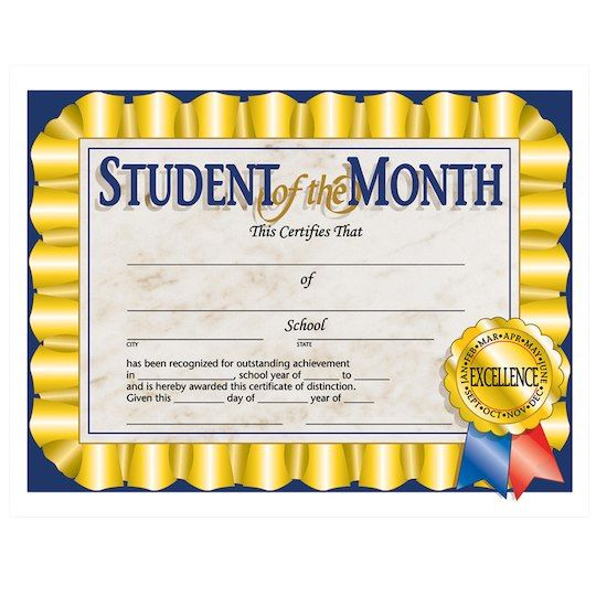 """Flipside Products 85"""" X 11"""" Student Of The Month within Amazing Hayes Certificate Templates"""