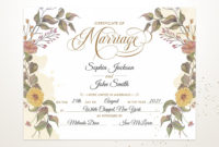 Floral Fall Themed Wedding Certificate Printable inside Awesome Wedding Gift Certificate Template