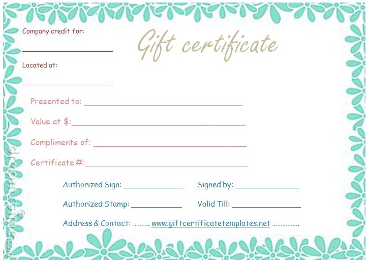 Flower Border Gift Certificate Template  Gift Certificate throughout Small Certificate Template