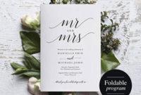 Folded Wedding Program Template Folded Wedding Program regarding Printable Wedding Reception Agenda Template