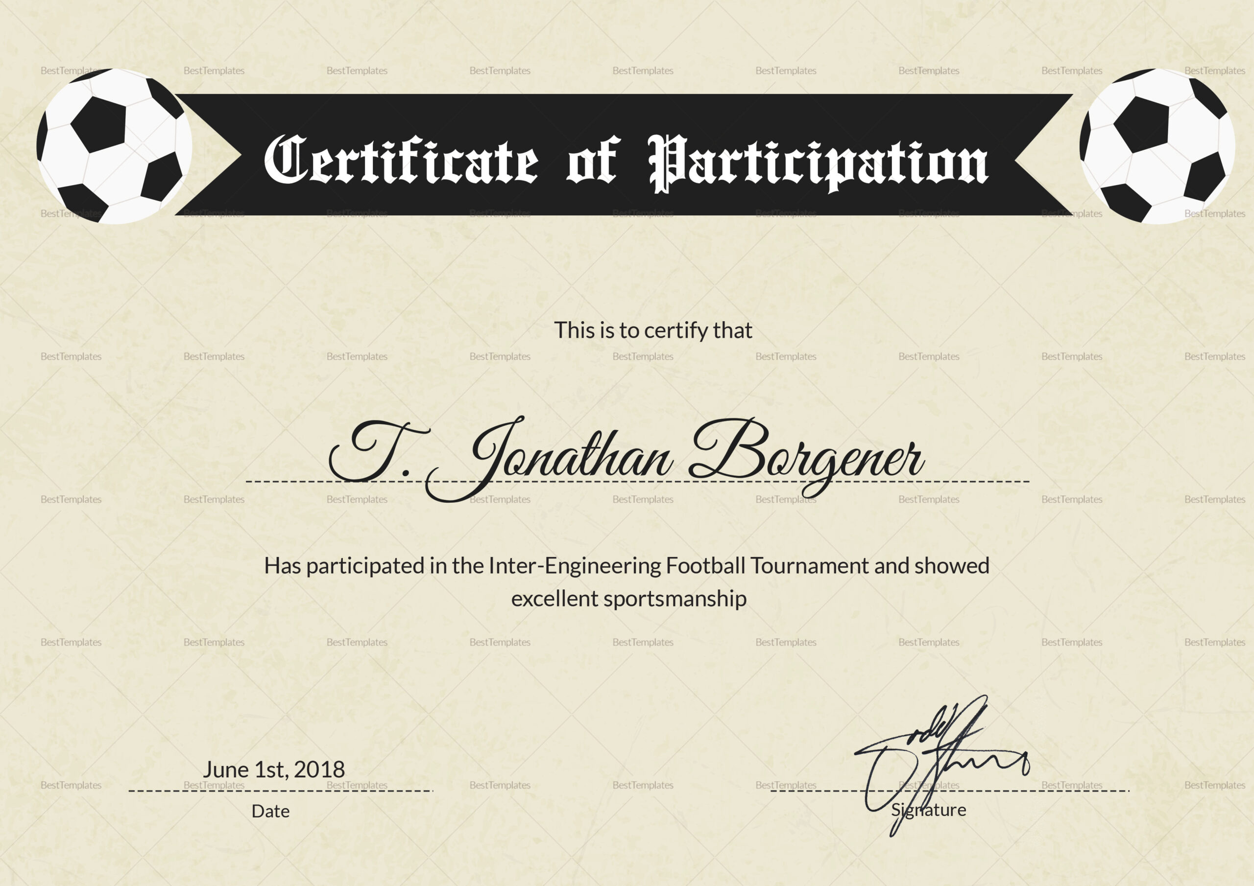 Football Certificate Of Participation  Calepmidnightpig within Certificate Of Participation Word Template