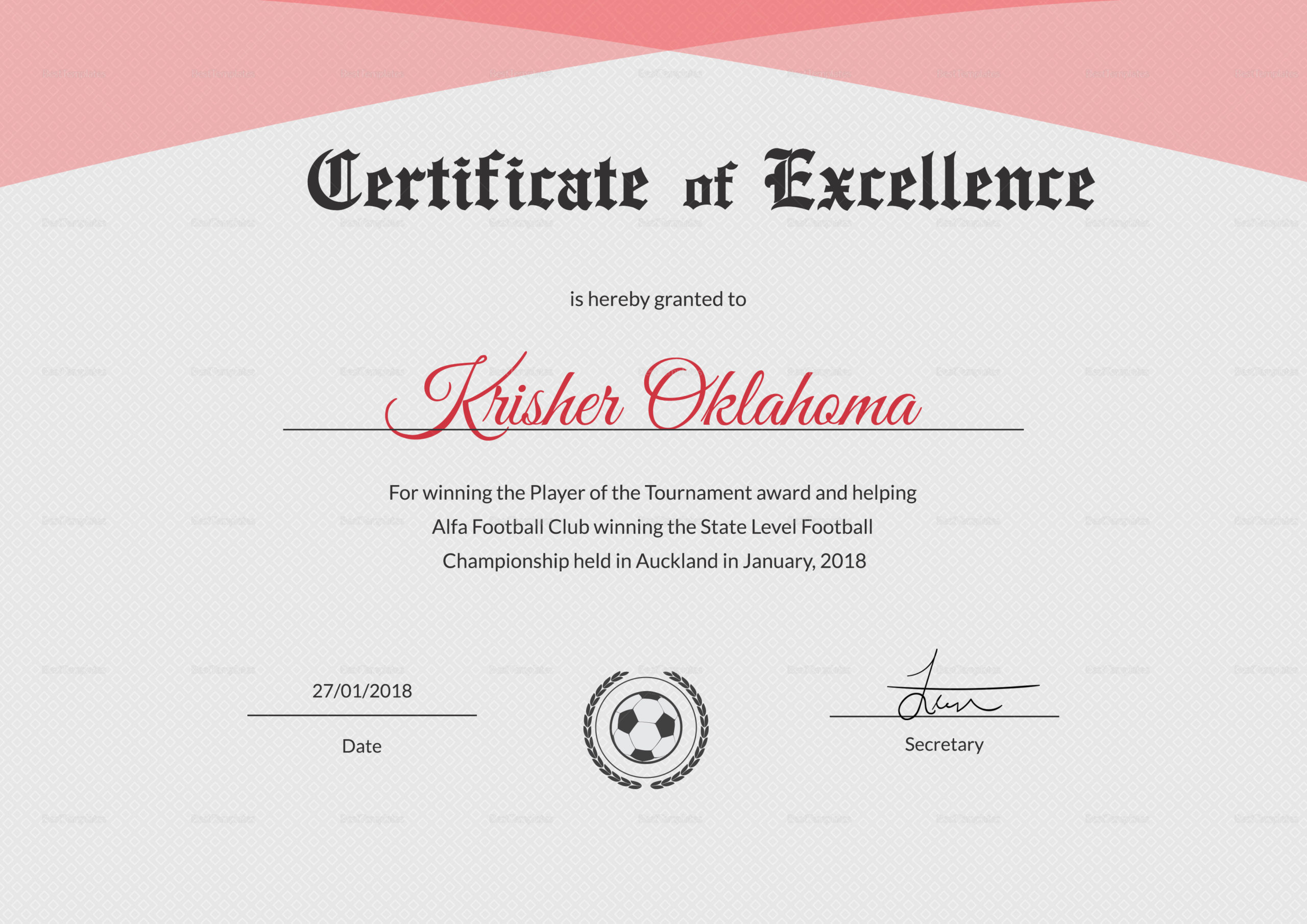 Football Excellence Award Certificate Design Template In intended for Certificate Of Excellence Template Word
