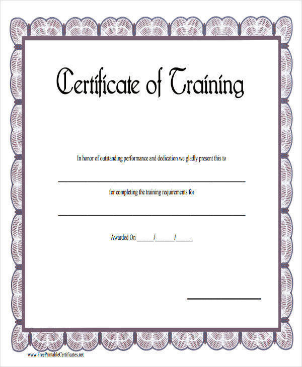 Free 19 Training Certificates In Pdf  Ms Word regarding Template For Training Certificate