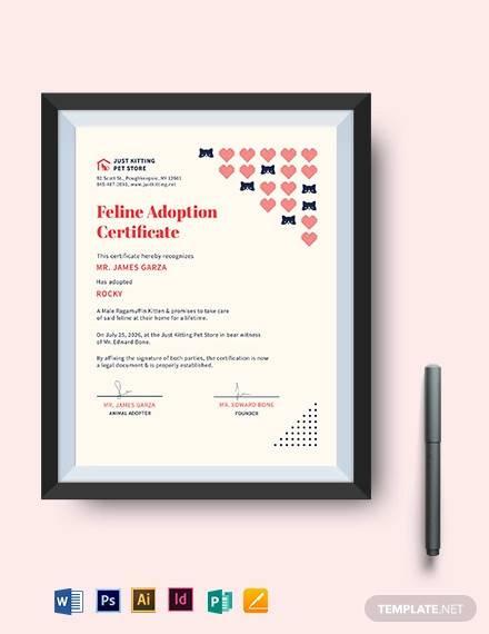 Free 23 Sample Adoption Certificates In Ai  Indesign pertaining to Unicorn Adoption Certificate Templates