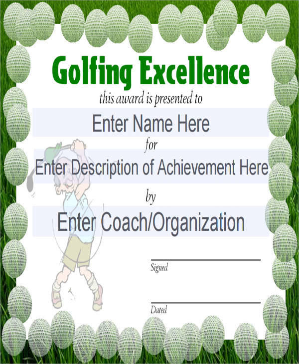 Free 27 Sports Certificates In Pdf with regard to Quality Golf Certificate Template Free