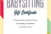 Free 7 Babysitting Gift Certificate Template Ideas For throughout Kindness Certificate Template 7 New Ideas Free