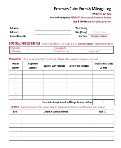 Free 7 Sample Mileage Log Forms In Pdf in Free Medical Expense Log Template