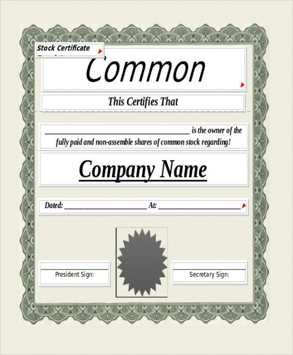 Free 8 Sample Blank Certificate Templates In Pdf  Ms Word regarding Blank Share Certificate Template Free