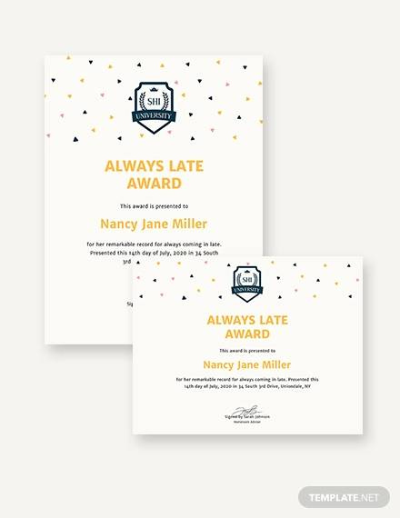 Free 8 Sample Funny Certificate Templates In Pdf  Psd intended for Amazing Fun Certificate Templates