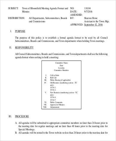 Free 8 Sample Meeting Agenda Templates In Pdf regarding Awesome Template For Board Meeting Agenda