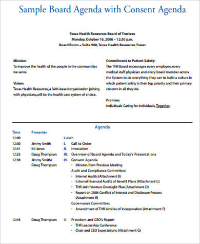 Free 9 Board Meeting Agenda Samples In Pdf  Ms Word throughout Awesome Meeting Invite With Agenda Template