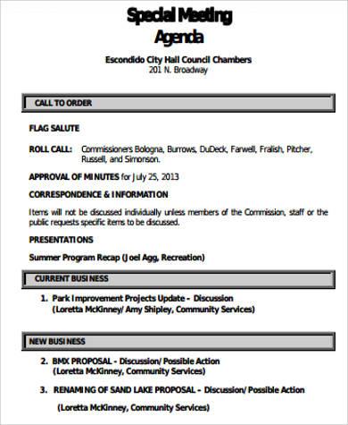 Free 9 Business Meeting Agenda Samples In Ms Word  Pdf for Meeting Agenda Sample Template Free