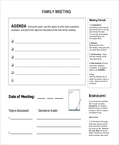 Free 9 Family Agenda Samples In Ms Word  Pdf with Free Meeting Agenda Template Microsoft Word