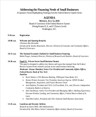 Free 9 Sample Conference Agenda Templates In Pdf  Ms Word inside Sample Agenda Template For Board Meeting