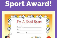 Free Award Certificate I'M A Good Sport Primary Behavior with Awesome Athletic Certificate Template