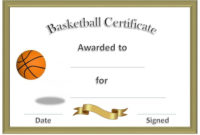 Free Basketball Certificates Templates  Activity Shelter inside Baseball Award Certificate Template