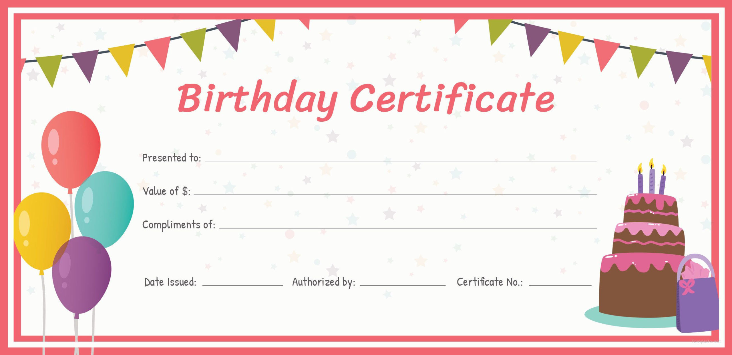 Free Birthday Gift Certificate  Free Gift Certificate within Kindness Certificate Template 7 New Ideas Free