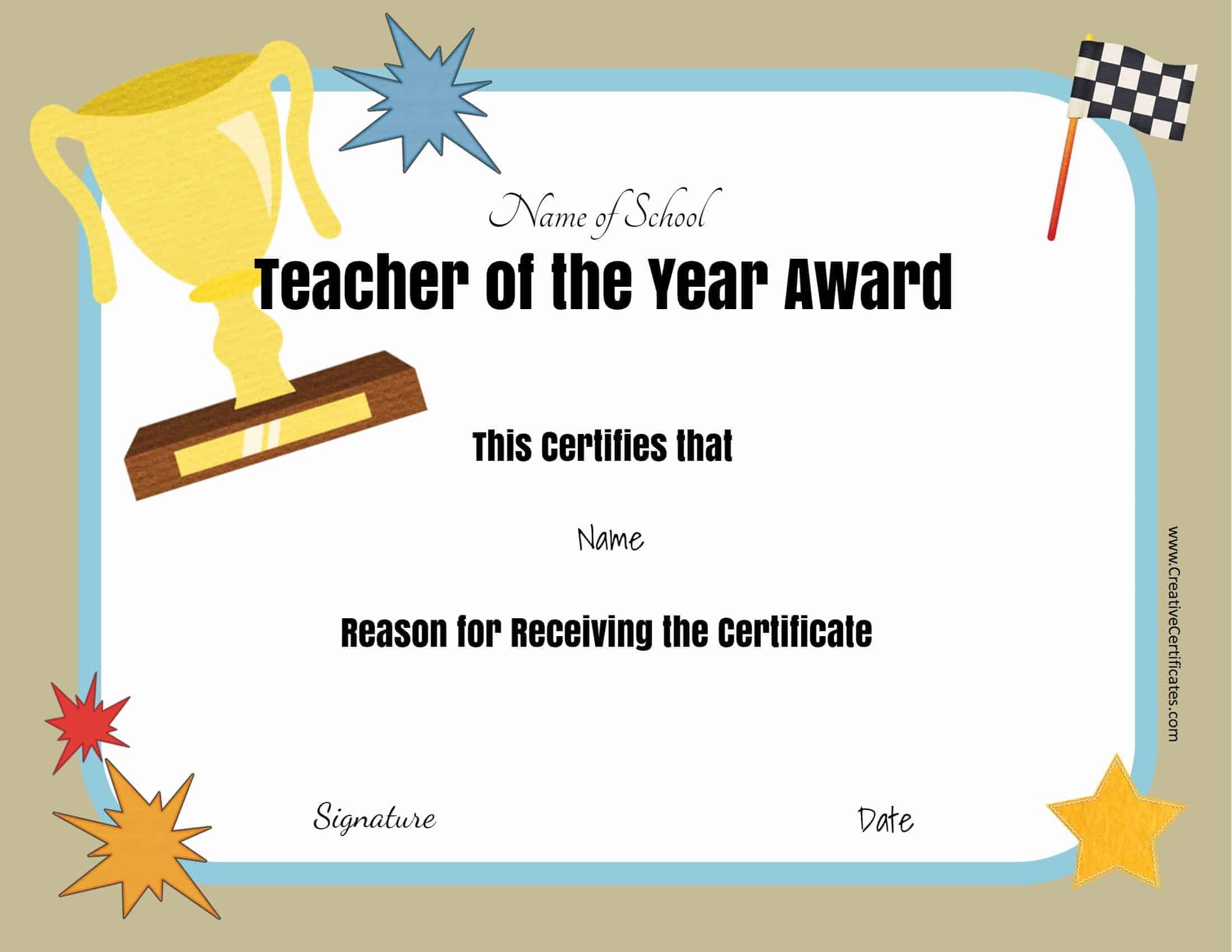 Free Certificate Of Appreciation For Teachers  Customize for Teacher Of The Month Certificate Template