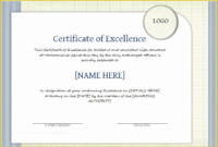 Free Certificate Of Excellence Template Of Certificate Of pertaining to Certificate Of Excellence Template Word