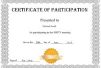 Free Certificate Of Participation  Customize Online  Print in Certificate Of Participation Template Doc 10 Ideas