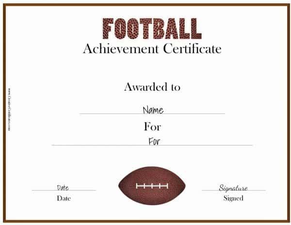 Free Custom Football Certificates throughout Free Soccer Achievement Certificate Template
