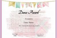 Free Dance Certificate Template  Customizable And in Dance Certificate Template