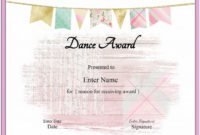 Free Dance Certificate Template  Customizable And with Ballet Certificate Template