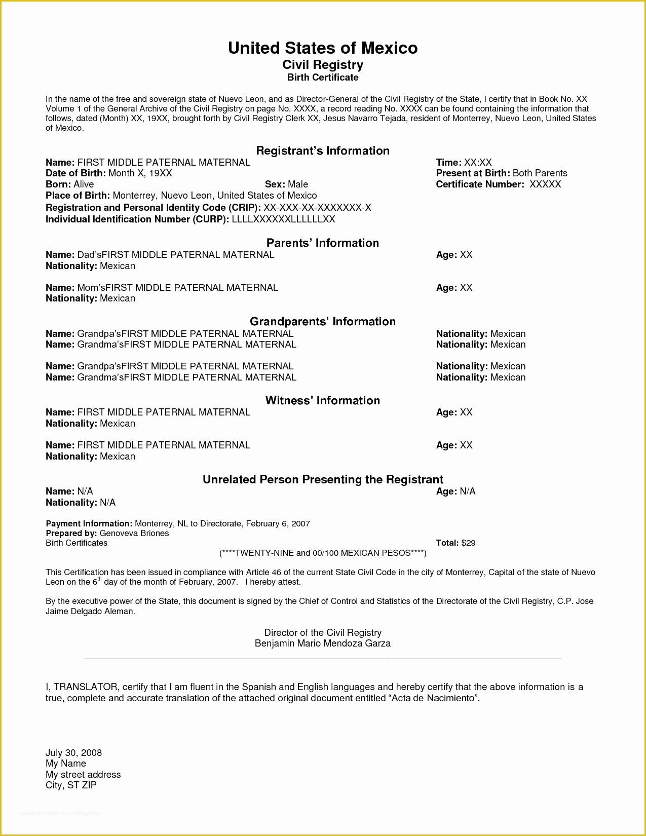 Free Death Certificate Translation Template Of Best S Of with regard to Quality Death Certificate Translation Template