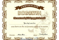 Free Downloadable Puppy Birth Certificate Design In Cream in Pet Birth Certificate Templates Fillable
