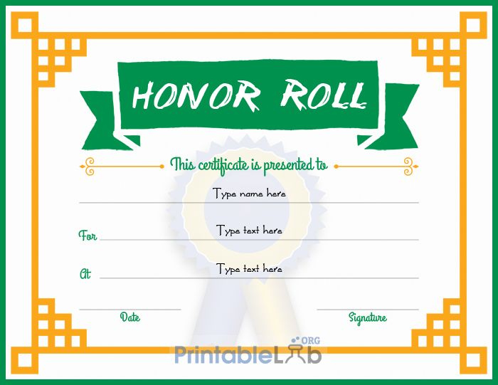 Free Editable Honor Roll Certificate Design In Green Haze throughout Certificate Of Honor Roll Free Templates