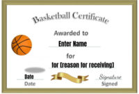 Free Editable  Printable Basketball Certificate Templates throughout Basketball Achievement Certificate Templates