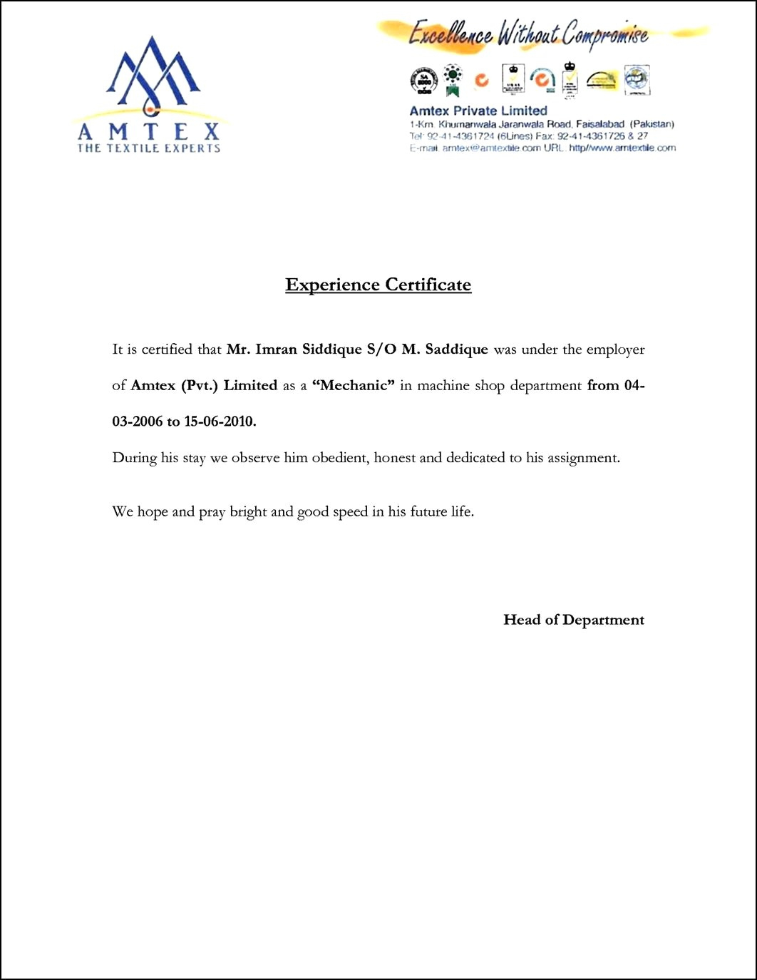 Free Employee Experience Certificate Template 440Times570 intended for Employee Certificate Of Service Template