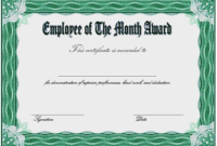 Free Employee Of The Month Award Certificate Template 2 for Best 10 Scholarship Award Certificate Editable Templates