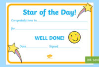 Free  👉 Star Of The Day Award Certificate throughout Player Of The Day Certificate Template Free