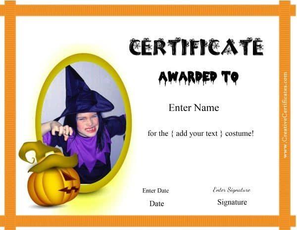 Free Halloween Costume Awards  Customize Online  Instant inside Amazing Halloween Costume Certificates 7 Ideas Free